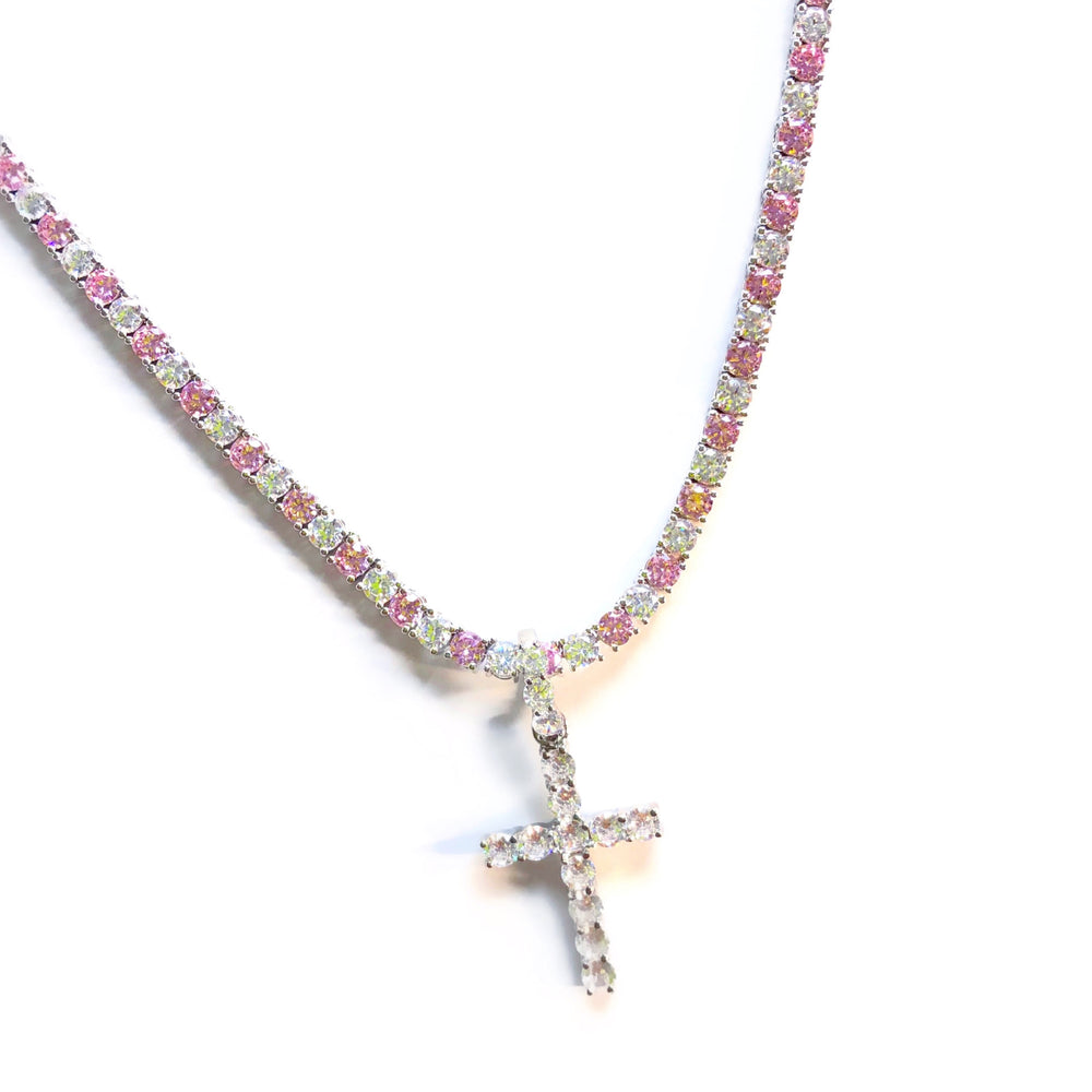 Pink Diamond Tennis Cross Chain