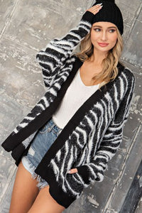 Zebra Fuzzy Knit Cardi With Pockets