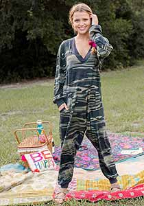 V Neck Camo Jumpsuit