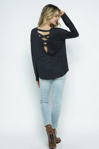 Solid Knit Lattice Back Top