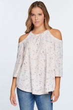 Peach Floral Cold Shoulder Top