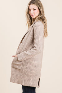Notched Collar Coat with Pockets