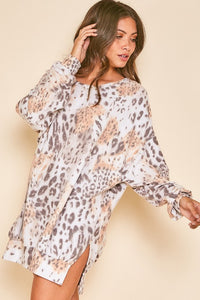 Tie Dye Animal Print Sweatshirt Dress