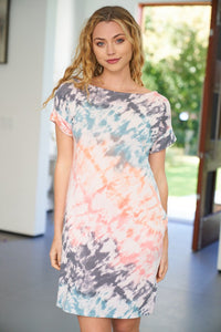 Tie Dye Knit Dress With Pockets