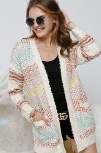 Sprinkle Cable Knit Cardi W/ Pockets