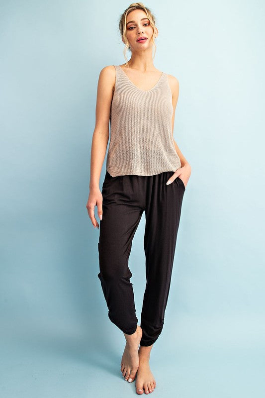 Solid High Waist Pants W/ Shirring Detail at Ankles