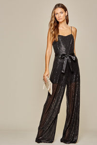 Jumpsuit All Over Sequin Pattern W/ Satin Waist Band