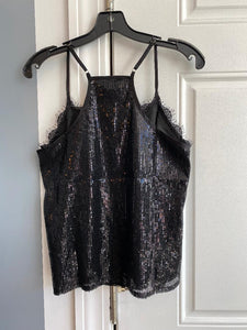 Sequin Detail Cami With Lace Inset