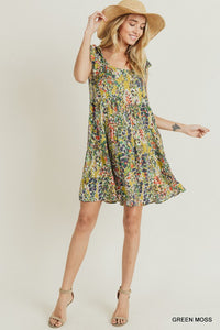 Jane Watercolor Floral Print Tiered Shoulder Tie Dress