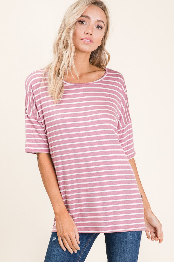 Casual Short Sleeve Stripe Top