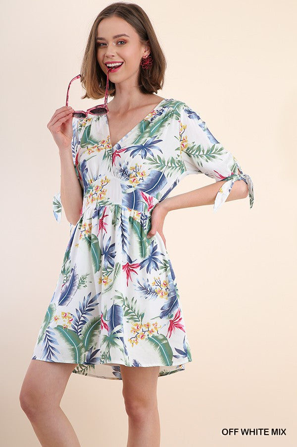 Tropical Print V Neck Dress W/ 3/4 Cutout Sleeve w/ Ties