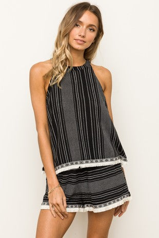 Textured Stripe Fringe Hem Mock Neck Tank