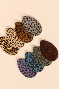 Leopard Leather Teardrop Earring