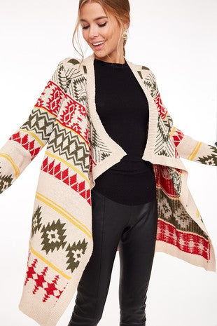 Open Front Aztec Print Sweater