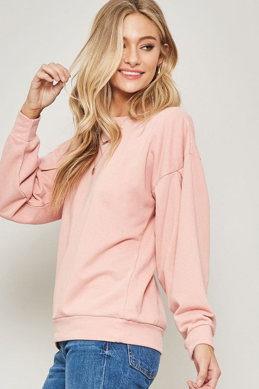Lace Up Back French Terry Sweatshirt
