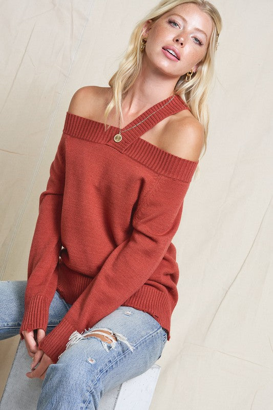 Light Weight Off the Shoulder Single Strap Sweater