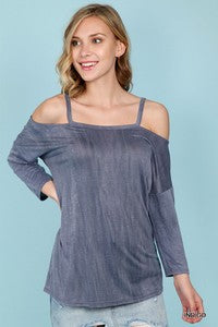 Spaghetti Strap Distressed Top