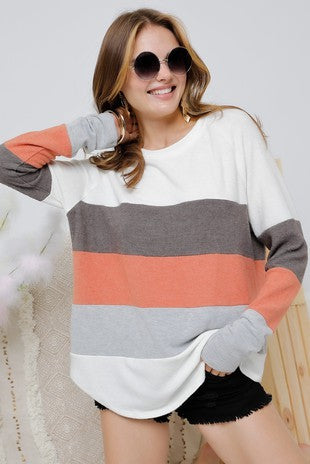 Striped Long Sleeve Sweater Knit Top