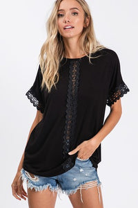 Lace Trim Accent Lace Top in WHITE