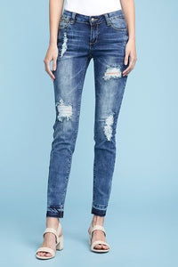 Fay Full Length Mid Rise Skinny Fit Destroyed Jeans