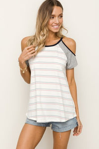 Mixed Media Cold Shoulder Stripe Top