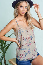 Tia Floral V-Neckline Cami with Adjustable Straps