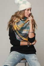 Multi Color Plaid Over-Sized Frayed Square Blanket Scarf