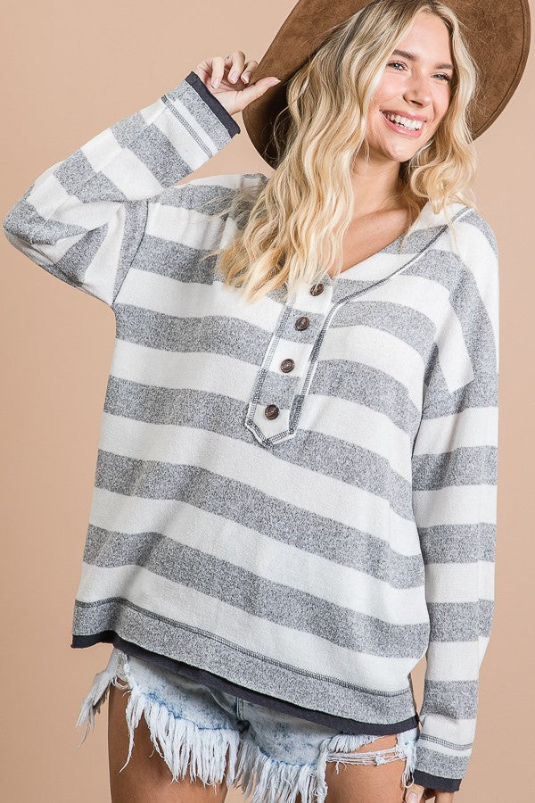 Jazz Soft Striped V Neck Button Down Top