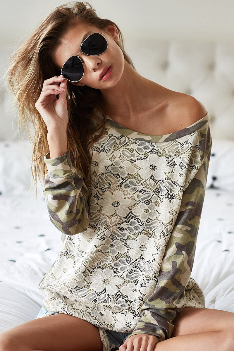 Camo Printed French Terry With Lace Detail