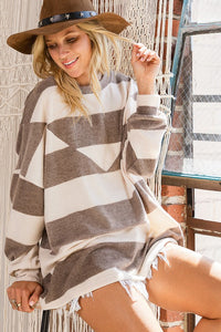Soft Brushed Striped Reversed Front Neck Top