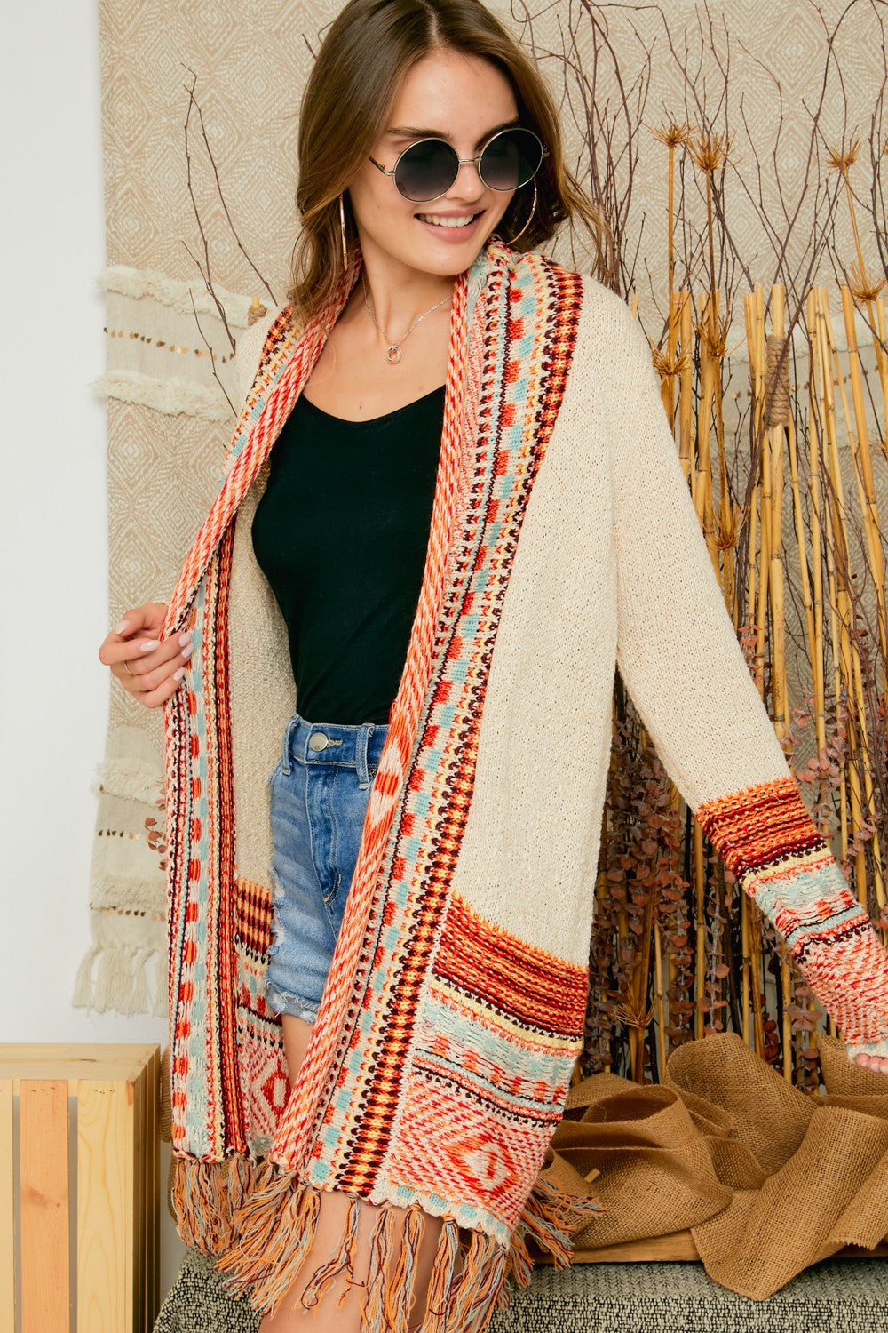 Mya Pattern Cardigan With Tassel