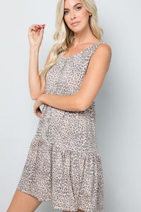 Leopard Button Trim Dress