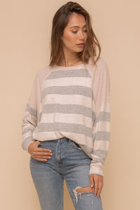 Page Stripe Hacci & Thermal Combo Raglan Pullover