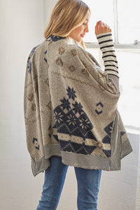 Ivy Brushed Aztec Snowflake Print Sweater Tunic W/ Stripe Detail