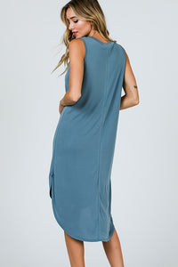 Round Neck Hi Low Hem Dress
