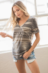 V-Neck Pocket Detail Aztec Top