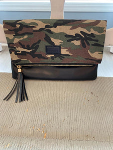 Fold Over Clutch - Camo & Black with Red Lining