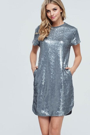 Sequined Short Sleeve Dress