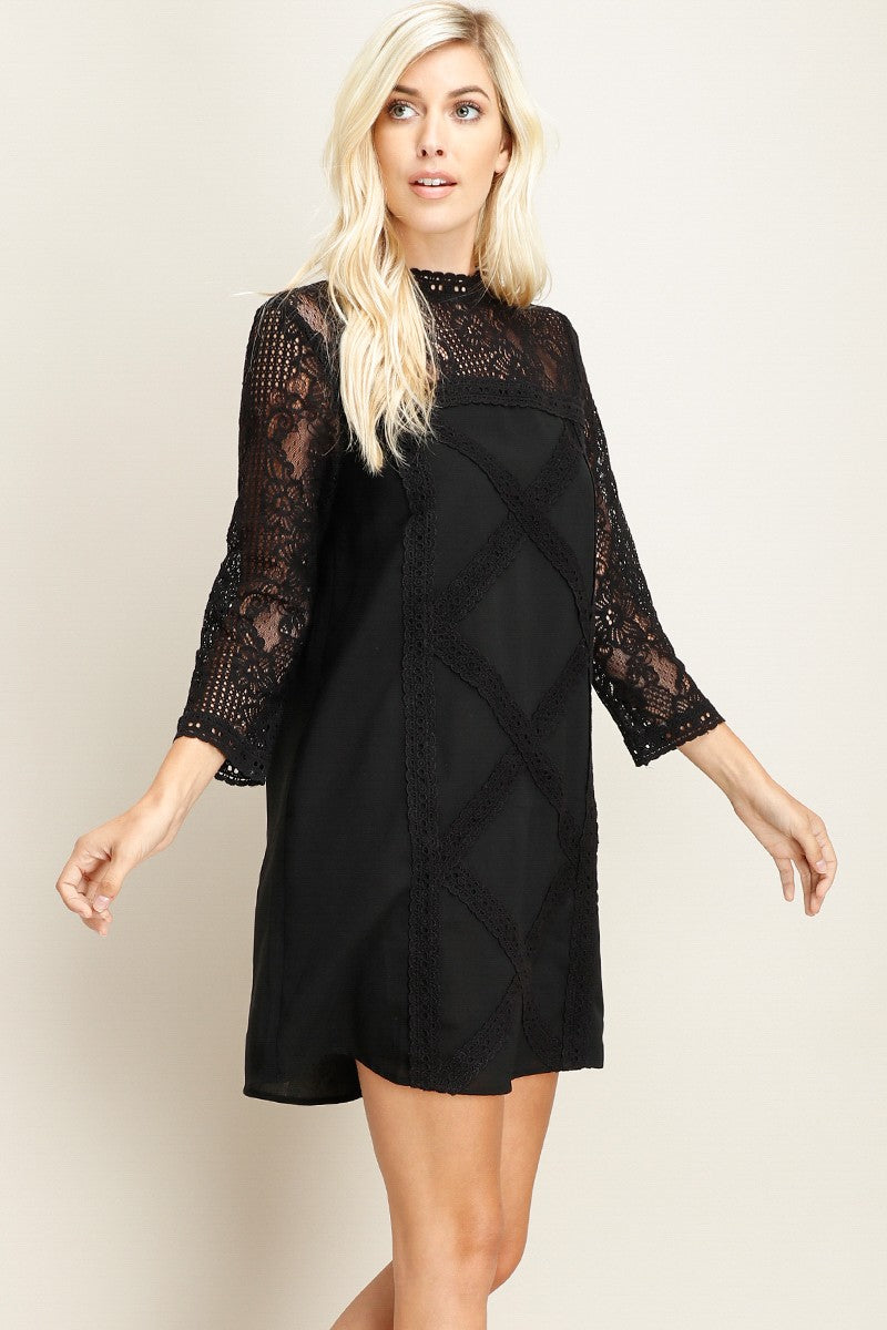 Solid Shift Dress With Crochet Lace