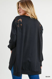 Solid Pullover With Shoulder Lace Details