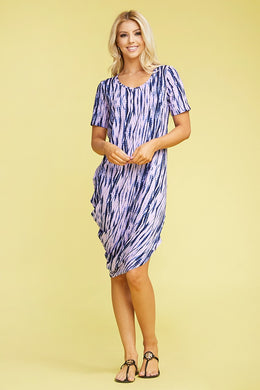 Half Sleeve One Side Draped Dress