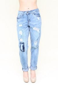 Light Washed Distressed Denim