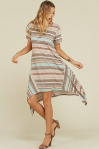 Stripe knit print dress asymmetric hem short sleeve