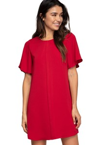 Short Sleeve Ruffle Dress With Center Front Band