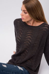 Solid Scallop Knit Pullover