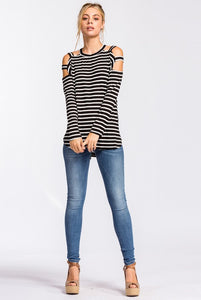 Ava Open Shoulder Stripe Top