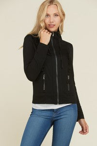 Zip Up Ruffle Knit Jacket