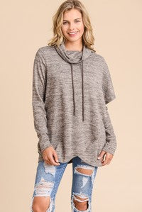 Poncho Style Turtle Neck Hoodie With Sleeve Detail