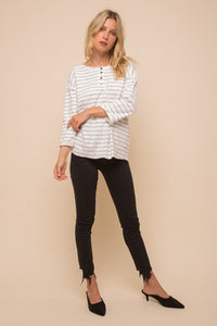 Heather Stripe Oversized Henley Top