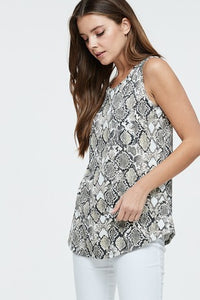 Sleeveless Snake Print Top Cutout Back